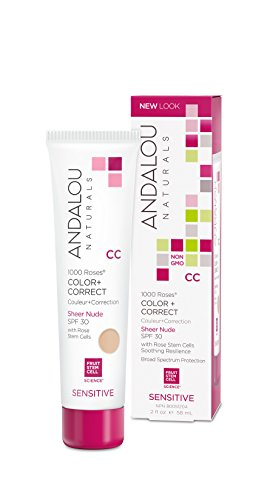 Andalou Naturals 1000 Roses CC Color + Correct, Sheer Nude, SPF 30, 2 oz, For Sensitive, Dry, Delicate or Easily Irritated Skin, Soothes & Calms