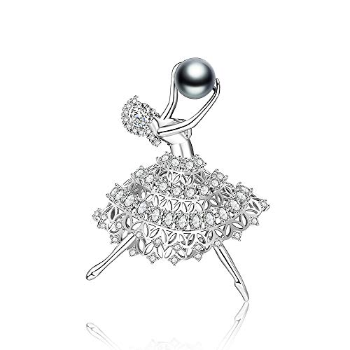 Mytys Fashion Clear CZ Cubic Zircon Dancing Ballet Girl Women Brooch Pin Jewelry Gift Art Deco Accessory Silver Brooch Pin (Ball Clasp Pave)