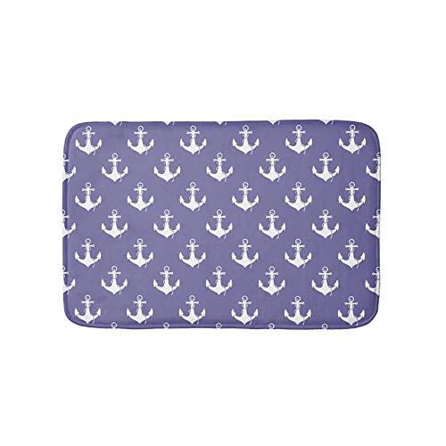 Nautical Purple Anchor Pattern Bathroom Bath Door Mat Rug 16×24 inch ()