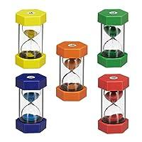 Relaxdays XXL Set of 5 Hourglasses, Sandglass for Children,1/5/10/15/30 Minutes, Break-Proof, Colourful