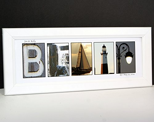 Creative Letter Art - Personalized Framed Name Sign with Beach and Nautical Related Alphabet Photographs including Cotton White Self Standing Frame (White Personalized Print)