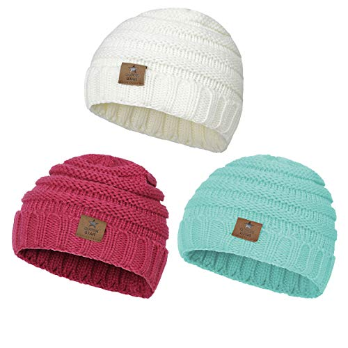 Zando Baby Hats For Girls Winter Kids Caps Warm Cable Knit Children's Beanies Hats (0-4 years) 3 Pack:White,Rose Red,Lake Blue Prime