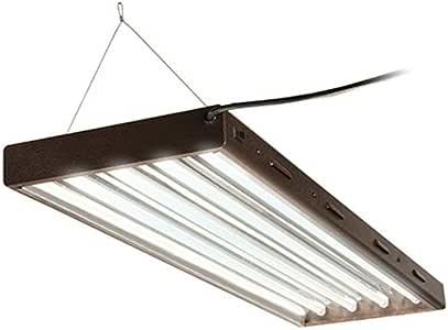 Hydrofarm Agrobrite Designer T5, FLP44, 216W 4 Foot, 4-Tube Fixture with Lamps Fluorescent Grow Light, 4-Feet/4-Tube, Brown