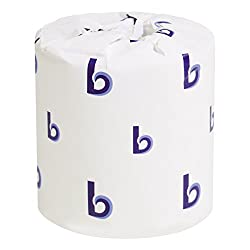 "Boardwalk BWK 6180 4.5"" Length, 3"" Width 2-Ply Standard Roll Toilet Tissue"
