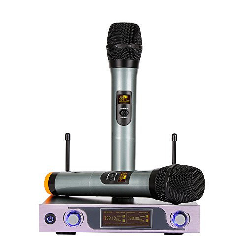 ARCHEER VHF Wireless Microphone System with LED Display and Dual Handheld Microphones for outdoor wedding, Conference, Karaoke, Evening Party, Rose Gold
