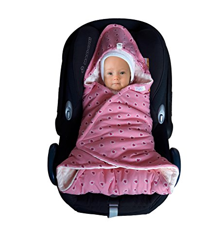 SWADDYL Baby girl swaddle blanket I car seat I stroller I hooded I bunting I newborn I Minky plush and cotton I Made in Europe (RoseHeart) by Swaddyl