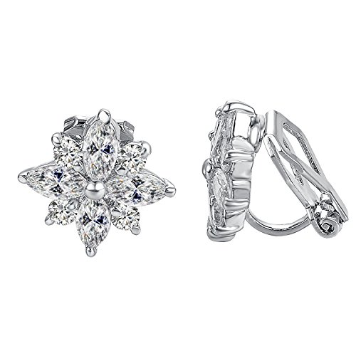 Yoursfs Clip on Earrings White Clear Crystal Snowflake Elegant CZ Non Pierced ()