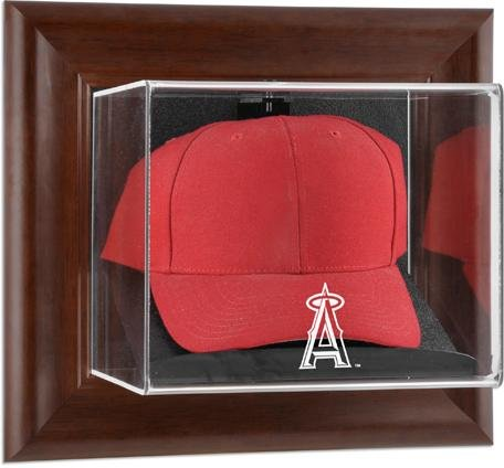 Los Angeles Angels Brown Framed Wall Mounted Logo Cap Case -
