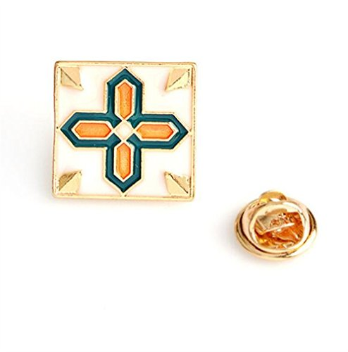 (Zhahender Novelty Lovely Buttons Badges Exquisite Vintage Brooch Square Brooch Button Badge(Colorful))