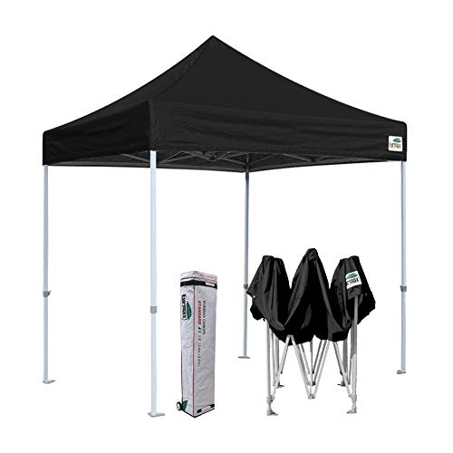 Eurmax 8x8 Feet Ez Pop up Canopy, Outdoor Canopies Instant Party Tent, Commercial Gazebo Bonus Roller Bag (Black)