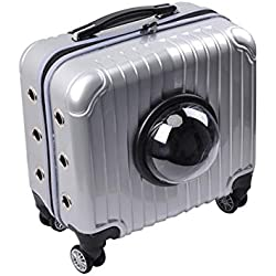16-inch pet Transport Carrier, Multi-Function Portable Universal Wheel Trolley case, Suitable for Medium Dogs Cats Small Animal, Porous, Breathable and Durable,Silver