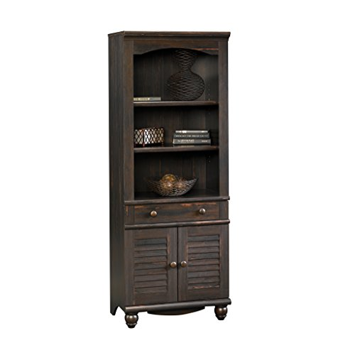 Sauder Harbor View Library with Doors Antiqued (Paint Cabinet Shelf)