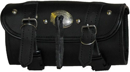 Synthetic Black Leather Concho and Studded 2 Quick Release Buckle Motorcycle Tool Bag