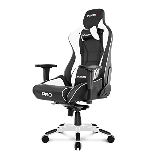 AKRacing Masters Series Pro Luxury XL Gaming Chair with High Backrest, Recliner, Swivel, Tilt, 4D Armrests, Rocker & Seat Height Adjustment Mechanisms, 5/10 Warranty - White