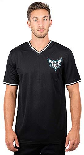 Ultra Game NBA Charlotte Hornets Men's Jersey T-Shirt V-Neck Mesh Short Sleeve Tee Shirt, Large, Black