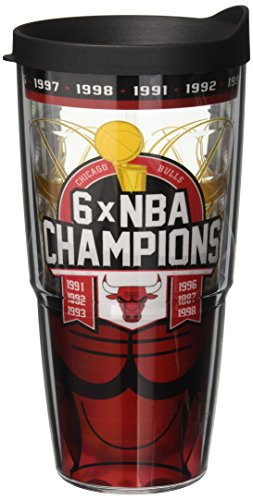 Tervis NBA Chicago Bulls 6x Champs Wrap Tumbler with Black Lid, 24 oz, Clear - Chicago Bulls Tumbler