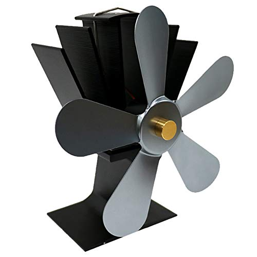 Stove Fan Maserfaliw Large Airflow 5 Blades Heat Powered Gas Wood Log Burner Home Fireplace Stove Fan - Gray, Home Life, Office, Holiday Gifts. from Maserfaliw