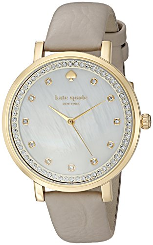 - kate spade new york Women's 'Monterey' Quartz Stainless Steel and Leather Casual Watch, Color:grey band, white Mother of pearl dial (Model: KSW1131)