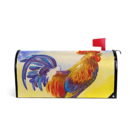 JOYPRINT Magnetic Mailbox Cover Animal Rooster Art Painting, Standard Size 21