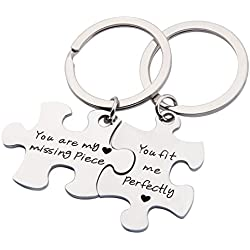 SEIRAA Couples Puzzle Keychain You Are My Missing Piece You Fit Me Perfectly Set Of Two (keychain suit)