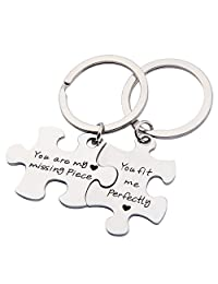SEIRAA Couples Puzzle Keychain You Are My Missing Piece You Fit Me Perfectly Couple Gift