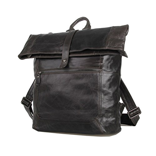 Genuine Leather Men's Grey Shoulder Messenger Bag Cross Body Backpack
