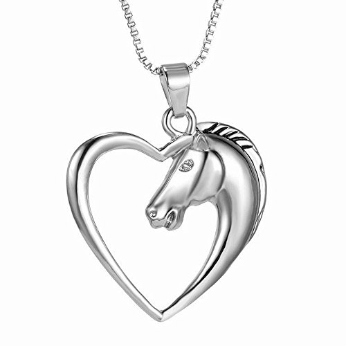 Gbell Clearance! Women Men Fashion Silver Horse Heart Pendant Necklace Gifts Charm Jewelry for Unisex Boys (Silver)