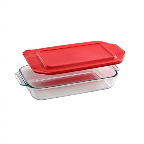 Pyrex Basics 2 Quart Glass Oblong Baking Dish with Red Plastic Lid - 7 inch x 11 Inch by Pyrex ()