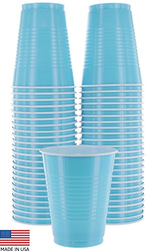 (Amcrate Light Blue Colored 16-Ounce Disposable Plastic Party Cups - Ideal for Weddings, Party's, Birthdays, Dinners, Lunch's. (Pack of 50) )