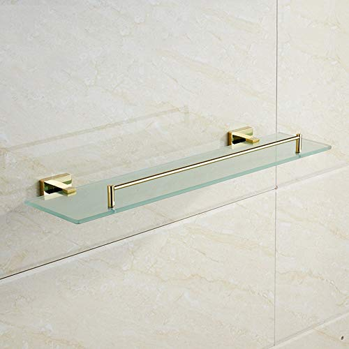 Hvauty Luxury Gold Bathroom Shelf Wall Mount Copper Bath Tempered Glass Shelves Cosmetic Rack Shower Caddy Storage Stand Rustproof Brass Organiser Holder Floating Shelving with Guardrail ()