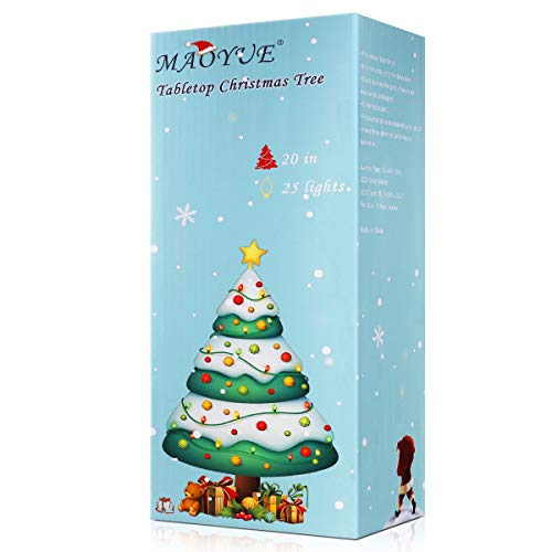 MAOYUE Tabletop Christmas Tree, 20 Inch Artificial Christmas Tree Battery Operated Lighted Mini Christmas Tree with 8 Mode LED Light for Christmas Decorations, Home Décor, Kitchen, Dining Table (Lighted Tree Christmas Tabletop)