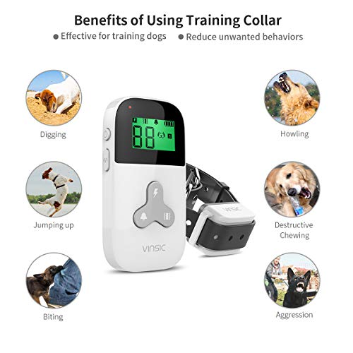 VINSIC Dog Shock Collars with Remote for 2 Dogs, 100% Waterproof Dog Training Collars with 300yd Range Remote Control, for Small Big Dog bark Collar with LCD Display by VINSIC (Image #3)