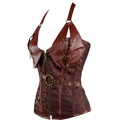 a80c97f0f03 Women s Punk Rock Faux Leather Corset Bustier Basque Waist Cincher Bustier  Lingerie