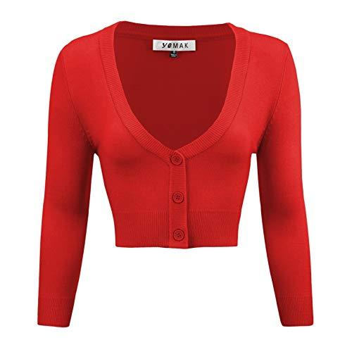 (YEMAK Women's Cropped 3/4 Sleeve Bolero Button Down Cardigan Sweater CO129-TMT-S)