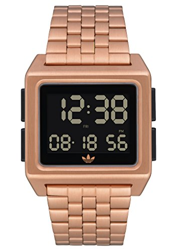 adidas Archive_M1. Men's 70's Style Stainless Steel Digital Watch with 5 Link Bracelet (Rose Gold/Black. 36 mm). - Nixon Gold Watches Mens