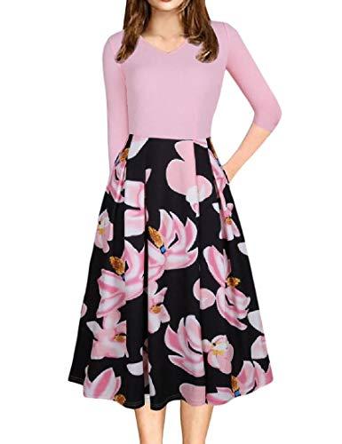 Coolred-femmes Épissures Poche Froncée V Cou Impression Robe De Soirée Rose Classique