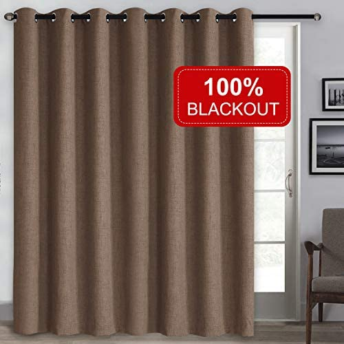 Rose Home Fashion Patio Door Curtains, 100 Blackout Curtains, Linen Textured Thermal Insulated Sliding Door Curtains, Grommet Sliding Glass Door Curtains-1 Panel 100×96 Chocolate