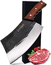 KITORY Forged Cleaver Knife 7'' Handmade Vegetable and Meat Cleaver Butcher Knife High Carbon Steel Full Tang Blade, Ergonomic Pear Wood Handle, Chef Knife Kitchen Knife for Home Kitchen or Restaurant