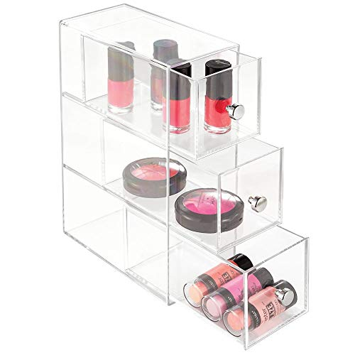 InterDesign Clarity 3-Drawer Cosmetic Organizer for Vanity Cabinet - Perfect Storage Box for Makeup, Beauty Products, Eyeglasses, Clear