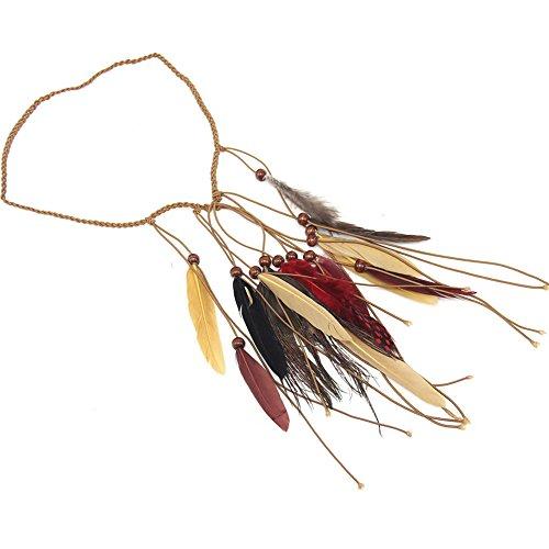 Girls Bohemian Tassels Hairband Headwear Hippie Feather Hair Hoop -