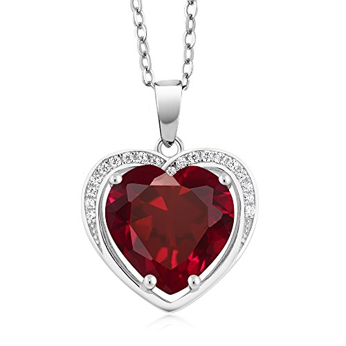 Gem Stone King 4.25 Cttw 925 Sterling Silver Heart Shape Created Ruby Pendant With 18 Inch Silver Chain (10X10MM Heart)