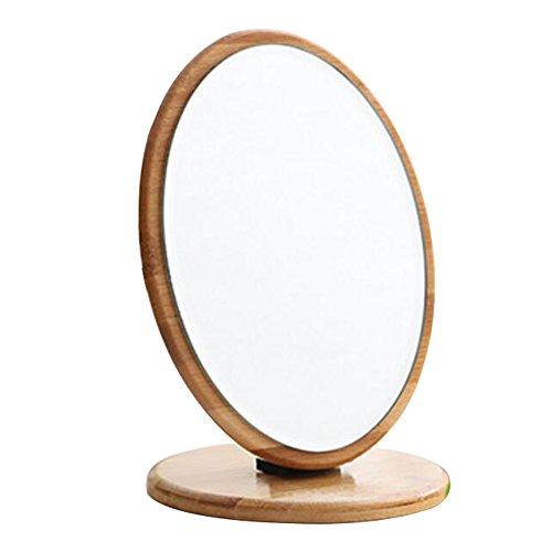 Bamboo Folding Mirror Makeup Cosmetic Bathroom Mirror Desktop Mirror-Oval by George Jimmy