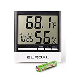 Humidity Monitor by Elroal - Digital indoor Hygrometer - Thermometer - Alarm Clock with LCD Display - Temperature Gauge Humidity Meter for Home or Greenhouse, Basement or Office