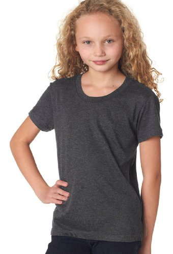 Bella Canvas Youth Jersey Short Sleeve Tee, Dk Grey Heather, Large