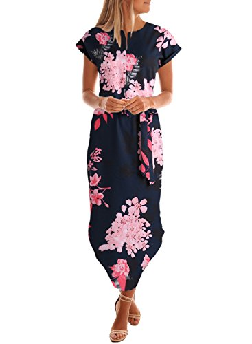 Drimmaks Women's Summer V-Neck Midi Floral Print Outdoor Day Dress with Belt (L, DM005-Navy Blue)