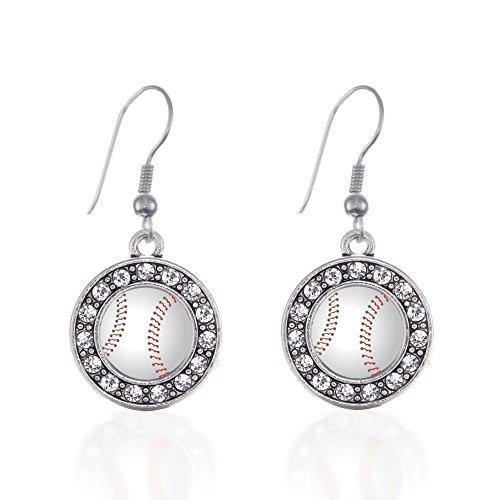 Inspired Silver Baseball Circle Charm French Hook Earrings