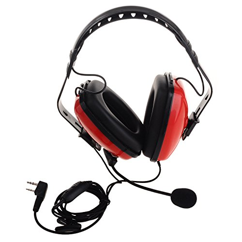 Two-ply Earmuff Headset Foldable Overhead Noise Cencelling PTT with Mic for Kenwood Baofeng TYT Two Way Radio Walkie Talkie
