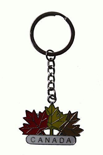 CANADA , 3 COLORED MAPLE LEAFS Metal Keychain .. New