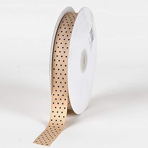 Fuzzy Fabric Swiss Dot Grosgrain Ribbon, Turftan with Brown Dots - [W: 7/8 Inch | L: 50 Yards]