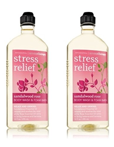 Bath & Body Works Aromatherapy Body Wash and Foam Bath in Sandalwood Rose (2 Pack)